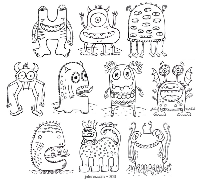 New Monsters PDF Printable Coloring Book And Shoe Designs